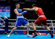 23 June 2019; Tony Browne of Ireland, left, in action against Toni Filipi of Croatia during their Men's Heavyweight bout at Uruchie Sports Palace on Day 3 of the Minsk 2019 2nd European Games in Minsk, Belarus. Photo by Seb Daly/Sportsfile