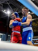 23 June 2019; Tony Browne of Ireland, right, in action against Toni Filipi of Croatia during their Men's Heavyweight bout at Uruchie Sports Palace on Day 3 of the Minsk 2019 2nd European Games in Minsk, Belarus. Photo by Seb Daly/Sportsfile