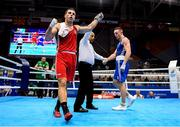 23 June 2019; Toni Filipi of Croatia celebrates following victory during his Men's Heavyweight bout against Anthony Browne of Ireland at Uruchie Sports Palace on Day 3 of the Minsk 2019 2nd European Games in Minsk, Belarus. Photo by Seb Daly/Sportsfile