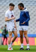 23 June 2019; John Doyle of Kildare, right, speaks to team-mate Eoghan Lawless prior to the Leinster Junior Football Championship Final match between Meath and Kildare at Croke Park in Dublin. Photo by Brendan Moran/Sportsfile
