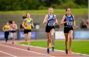 23 June 2019; Niamh Brady of St. Peter's A.C., Co. Louth, rigth, and Orlaith Deegan of Sliabh Bhuide Rovers A.C., Co. Wexford, competing in the competing in the 400m event during the U15 Pentathlon during the AAI Games & Irish Life Health Combined Events Day 2, Juvenile Combined Events at Morton Stadium in Santry. Photo by Eóin Noonan/Sportsfile