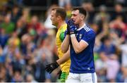 23 June 2019; Conor Rehill of Cavan reacts after a missed goal chance during the Ulster GAA Football Senior Championship Final match between Donegal and Cavan at St Tiernach's Park in Clones, Monaghan. Photo by Sam Barnes/Sportsfile