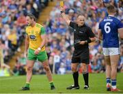 23 June 2019; Michael Murphy of Donegal receives a yellow card from Referee Conor Lane during the Ulster GAA Football Senior Championship Final match between Donegal and Cavan at St Tiernach's Park in Clones, Monaghan. Photo by Oliver McVeigh/Sportsfile
