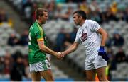 23 June 2019; Danny Quinn of Meath shakes hands with Johnny Doyle of Kildare after the Leinster Junior Football Championship Final match between Meath and Kildare at Croke Park in Dublin. Photo by Daire Brennan/Sportsfile