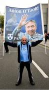 23 June 2019; Dublin supporter Peter Lawlor, from Ballyfermot, Co Dublin, with his banner in memory of former Dublin player Anton O'Toole, ahead of the Leinster GAA Football Senior Championship Final match between Dublin and Meath at Croke Park in Dublin. Photo by Daire Brennan/Sportsfile
