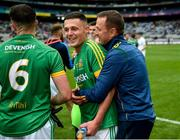 23 June 2019; Meath senior manager Andy McEntee celebrates with Robin Clarke of Meath after the Leinster Junior Football Championship Final match between Meath and Kildare at Croke Park in Dublin. Photo by Daire Brennan/Sportsfile
