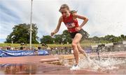 22 June 2019; Eala McDermot of Mercy Sligo, Co. Sligo, competing in the Girls 1500m Steeple Chase  during the Irish Life Health Tailteann Inter-provincial Games at Santry in Dublin. Photo by Sam Barnes/Sportsfile