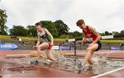 22 June 2019; Cathal O'Reilly of Castlecomer C.S., Co. Kilkenny, left, and Aaron Brennan of Colaiste Mhuire Ballymote, Co. Sligo, competing in the Boys 1500m Steeplechase during the Irish Life Health Tailteann Inter-provincial Games at Santry in Dublin. Photo by Sam Barnes/Sportsfile