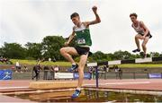 22 June 2019; Morgan Mac an Chleirigh of Colaiste Eoin, Co. Dublin, competing in the Boys 1500m Steeplechase during the Irish Life Health Tailteann Inter-provincial Games at Santry in Dublin. Photo by Sam Barnes/Sportsfile
