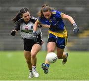 23 June 2019; Rachel Fitzmaurice of Roscommon in action against Kelly Ann Henry of  Sligo during the TG4 Ladies Football Connacht Intermediate Football Championship Final match between Roscommon and Sligo at Elvery's MacHale Park in Castlebar, Mayo. Photo by Matt Browne/Sportsfile