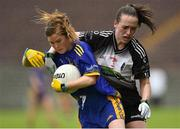23 June 2019; Siobhan Tully of Roscommon in action against Michelle McNamara of  Sligo during the TG4 Ladies Football Connacht Intermediate Football Championship Final match between Roscommon and Sligo at Elvery's MacHale Park in Castlebar, Mayo. Photo by Matt Browne/Sportsfile