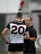 23 June 2019; David Quinn of Sligo is shown a red card by referee Brendan Cawley during the GAA Football All-Ireland Senior Championship Round 2 match between Offaly and Sligo at Bord na Mona O'Connor Park in Tullamore, Offaly. Photo by Harry Murphy/Sportsfile