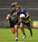 23 June 2019; Rachel Fitzmaurice of Roscommon in action against Sarah Renyolds of  Sligo during the TG4 Ladies Football Connacht Intermediate Football Championship Final match between Roscommon and Sligo at Elvery's MacHale Park in Castlebar, Mayo. Photo by Matt Browne/Sportsfile