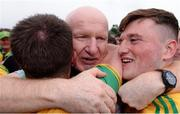 23 June 2019; Donegal manager Declan Bonner celebrates with players including Niall O'Donnell, right, during the Ulster GAA Football Senior Championship Final match between Donegal and Cavan at St Tiernach's Park in Clones, Monaghan. Photo by Sam Barnes/Sportsfile