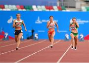 23 June 2019; Niamh Whelan of Ireland, right, competes in the Women's 100m at Dinamo Stadium on Day 3 of the Minsk 2019 2nd European Games in Minsk, Belarus. Photo by Seb Daly/Sportsfile