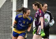 23 June 2019; Jenny Higgins of Roscommon celebrates after scoring the third goal during the TG4 Ladies Football Connacht Intermediate Football Championship Final match between Roscommon and Sligo at Elvery's MacHale Park in Castlebar, Mayo. Photo by Matt Browne/Sportsfile