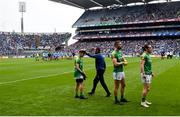 23 June 2019; Meath manager Andy McEntee wishes James Conlon of Meath good luck ahead of the Leinster GAA Football Senior Championship Final match between Dublin and Meath at Croke Park in Dublin. Photo by Daire Brennan/Sportsfile