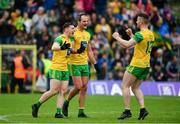23 June 2019; Donegal players, from left, Jamie Brennan, Michael Murphy and Patrick McBrearty celebrate at the final whistle following the Ulster GAA Football Senior Championship Final match between Donegal and Cavan at St Tiernach's Park in Clones, Monaghan. Photo by Sam Barnes/Sportsfile