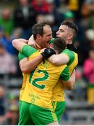 23 June 2019; Donegal players, from left, Michael Murphy, Jamie Brennan, hidden, and Patrick McBrearty celebrate at the final whistle following the Ulster GAA Football Senior Championship Final match between Donegal and Cavan at St Tiernach's Park in Clones, Monaghan. Photo by Sam Barnes/Sportsfile