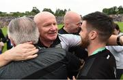 23 June 2019; Donegal Manager Declan Bonner, centre, celebrates with Donegal Chairman Mick McGrath and selector Karl Lacey after the Ulster GAA Football Senior Championship Final match between Donegal and Cavan at St Tiernach's Park in Clones, Monaghan. Photo by Oliver McVeigh/Sportsfile