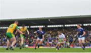23 June 2019; Jamie Brennan of Donegal shoots to score to his side's first goal of the game during the Ulster GAA Football Senior Championship Final match between Donegal and Cavan at St Tiernach's Park in Clones, Monaghan. Photo by Sam Barnes/Sportsfile