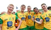 23 June 2019; Oisin Gallen, Hugh McFadden, Neil McGee, Frank McGlynn and Ciaran Thompson of Donegal celebrates after the Ulster GAA Football Senior Championship Final match between Donegal and Cavan at St Tiernach's Park in Clones, Monaghan. Photo by Oliver McVeigh/Sportsfile