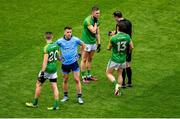 23 June 2019; Conor McGill of Meath argues with referee Sean Hurson before being shown a yellow card during the Leinster GAA Football Senior Championship Final match between Dublin and Meath at Croke Park in Dublin. Photo by Brendan Moran/Sportsfile