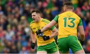 23 June 2019; Jamie Brennan of Donegal, left, celebrates with Patrick McBrearty after scoring his side's first goal of the game during the Ulster GAA Football Senior Championship Final match between Donegal and Cavan at St Tiernach's Park in Clones, Monaghan.  Photo by Sam Barnes/Sportsfile