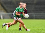 23 June 2019; Tamara O'Connor of Mayo in action against Megan Glynn of Galway during the 2019 TG4 Connacht Ladies Senior Football Final match between Mayo and Galway at Elvery's MacHale Park in Castlebar, Mayo. Photo by Matt Browne/Sportsfile