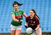 23 June 2019; Sarah Lynch of Galway in action against Rachel Kearns of Mayo during the 2019 TG4 Connacht Ladies Senior Football Final match between Mayo and Galway at Elvery's MacHale Park in Castlebar, Mayo. Photo by Matt Browne/Sportsfile