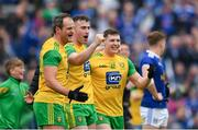 23 June 2019; Michael Murphy, left, Patrick McBrearty, and Jamie Brennan of Donegal celebrate following the Ulster GAA Football Senior Championship Final match between Donegal and Cavan at St Tiernach's Park in Clones, Monaghan. Photo by Ramsey Cardy/Sportsfile