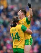 23 June 2019; Michael Murphy, left, and Jamie Brennan of Donegal celebrate at the final whistle of the Ulster GAA Football Senior Championship Final match between Donegal and Cavan at St Tiernach's Park in Clones, Monaghan. Photo by Ramsey Cardy/Sportsfile