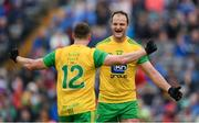 23 June 2019; Michael Murphy, right, and Jamie Brennan of Donegal celebrate at the final whistle of the Ulster GAA Football Senior Championship Final match between Donegal and Cavan at St Tiernach's Park in Clones, Monaghan. Photo by Ramsey Cardy/Sportsfile