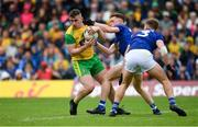 23 June 2019; Patrick McBrearty of Donegal in action against Ciaran Brady, left, and Padraig Faulkner of Cavan during the Ulster GAA Football Senior Championship Final match between Donegal and Cavan at St Tiernach's Park in Clones, Monaghan. Photo by Sam Barnes/Sportsfile