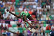23 June 2019; Nelvin Appiah of Ireland competes in the Men's High Jump during Dynamic New Athletics qualification match three at Dinamo Stadium on Day 3 of the Minsk 2019 2nd European Games in Minsk, Belarus. Photo by Seb Daly/Sportsfile