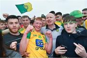 23 June 2019; Oisin Gallen, left, and Donegal manager Declan Bonner celebrate following the Ulster GAA Football Senior Championship Final match between Donegal and Cavan at St Tiernach's Park in Clones, Monaghan. Photo by Ramsey Cardy/Sportsfile