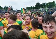 23 June 2019; Donegal's Michael Murphy, centre, celebrates following the Ulster GAA Football Senior Championship Final match between Donegal and Cavan at St Tiernach's Park in Clones, Monaghan. Photo by Ramsey Cardy/Sportsfile