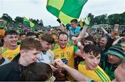 23 June 2019; Michael Murphy of Donegal celebrates with supporters following the Ulster GAA Football Senior Championship Final match between Donegal and Cavan at St Tiernach's Park in Clones, Monaghan. Photo by Ramsey Cardy/Sportsfile