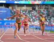 23 June 2019; Sarah Lavin of Ireland, left, finishes second in the Women's 100m hurdles during Dynamic New Athletics qualification match three at Dinamo Stadium on Day 3 of the Minsk 2019 2nd European Games in Minsk, Belarus. Photo by Seb Daly/Sportsfile