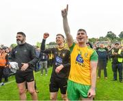 23 June 2019; Donegal players, from left, Paul Durcan, Shaun Patton and Patrick McBrearty following the Ulster GAA Football Senior Championship Final match between Donegal and Cavan at St Tiernach's Park in Clones, Monaghan. Photo by Ramsey Cardy/Sportsfile