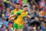 23 June 2019; Jamie Brennan celebrates with Donegal team-mate Patrick McBrearty after scoring his side's first goal during the Ulster GAA Football Senior Championship Final match between Donegal and Cavan at St Tiernach's Park in Clones, Monaghan. Photo by Ramsey Cardy/Sportsfile