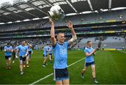 23 June 2019; Dublin's Paul Mannion  with the Delaney Cup after the Leinster GAA Football Senior Championship Final match between Dublin and Meath at Croke Park in Dublin. Photo by Ray McManus/Sportsfile