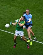 23 June 2019; Conor McGill of Meath and Paul Mannion of Dublin contest a high ball during the Leinster GAA Football Senior Championship Final match between Dublin and Meath at Croke Park in Dublin. Photo by Brendan Moran/Sportsfile