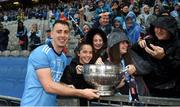 23 June 2019; Cormac Costello of Dublin celebrates with supporters and the Delaney cup after the Leinster GAA Football Senior Championship Final match between Dublin and Meath at Croke Park in Dublin. Photo by Daire Brennan/Sportsfile