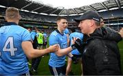 23 June 2019; Dublin manager Jim Gavin congratulates his players including John Small and Eoghan O'Gara after the Leinster GAA Football Senior Championship Final match between Dublin and Meath at Croke Park in Dublin. Photo by Ray McManus/Sportsfile