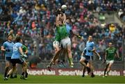 23 June 2019; Michael Darragh Macauley of Dublin in action against Bryan Menton, left, and Seán Tobin of Meath during the Leinster GAA Football Senior Championship Final match between Dublin and Meath at Croke Park in Dublin. Photo by Daire Brennan/Sportsfile