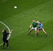 23 June 2019; Referee Sean Hurson throws the ball up between Bryan Menton of Meath and Brian Fenton of Dublin during the Leinster GAA Football Senior Championship Final match between Dublin and Meath at Croke Park in Dublin. Photo by Brendan Moran/Sportsfile