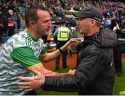 23 June 2019; Meath manager Andy McEntee and Dublin manager Jim Gavin shake hands after the Leinster GAA Football Senior Championship Final match between Dublin and Meath at Croke Park in Dublin. Photo by Daire Brennan/Sportsfile