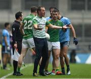 23 June 2019; Meath manager Andy McEntee argues with referee Seán Hurson during the Leinster GAA Football Senior Championship Final match between Dublin and Meath at Croke Park in Dublin. Photo by Daire Brennan/Sportsfile