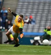 23 June 2019; Meath goalkeeper Andrew Colgan dives to his left as the ball flashes past to hit the post as Paul Mannion had kicked a penalty during the Leinster GAA Football Senior Championship Final match between Dublin and Meath at Croke Park in Dublin. Photo by Ray McManus/Sportsfile